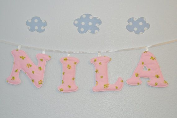 Customized 4 Letter Fabric Name Banner Baby by aTouchofFUNdant