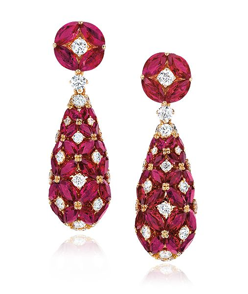 Cellini Jewelers Small Ruby Teardrop Earrings Teardrops of marquise-shape rubies, set in a pattern with round brilliant-cut diamonds, and rubies with diamonds at the top; in 18-karat rose gold.