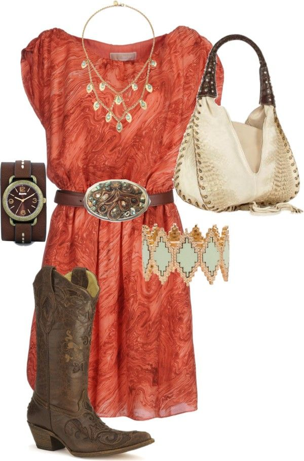 """""""Dress with Cowboy Boots"""" by ginny-davis on Polyvore~loose the belt, add cream leggings and a cream sweater"""