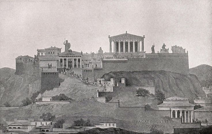 Image 1 of 14 from gallery of AD Classics: Acropolis of Athens / Ictinus, Callicrates, Mnesikles and Phidias. An elevation of the entire Acropolis as seen from the west; while the Parthenon dominates the scene, it is nonetheless only part of a greater composition. ImageCourtesy of Wikimedia user Quibik (Public Domain)