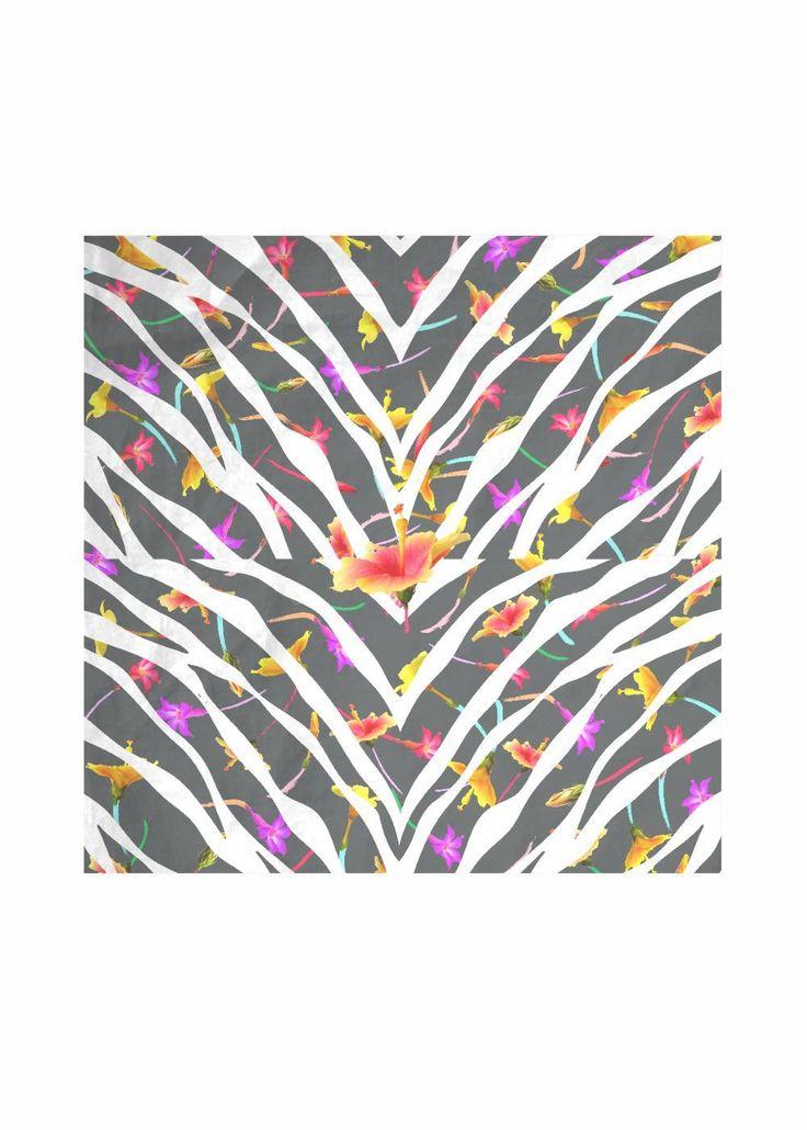 Silk Square Scarf – Zebra Swish 2 in Braun / Weiß von VIDA Original Artist   – Products