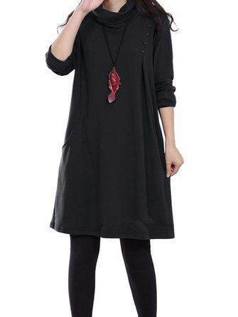 O-NEWE M-5XL Casual Women Turtleneck Long Sleeve Pocket Dress