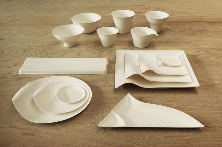 Disposable tableware by Wasara.  Made by using pulp from renewable reeds bamboo and sugar cane.