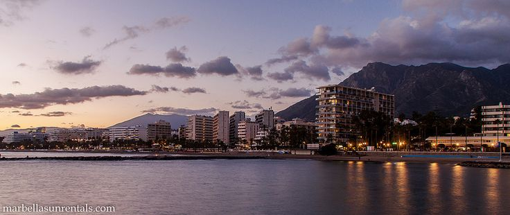 Marbella at sunset, view to Marbella West With Skol and mountain