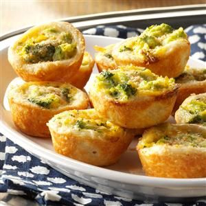 Broccoli-Cheddar Tassies Recipe -Our family adores broccoli casserole. I wanted to try it as an appetizer, so I used a pecan tassie recipe for the crust. The result? We're talking scrumptious. —Gail Gaiser, Ewing, NJ