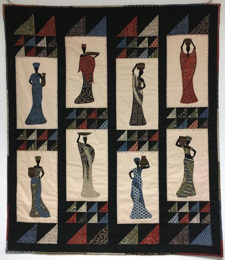 Quilten med afrikanske kvinder er eget design og den er syet hen over vinteren 2016/2017 af håndprintede stoffer fra Indien.