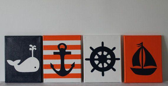 Nautical Nursery Painting Decor Sailboat Nursery Whale Nursery Anchor Ship's Wheel Navy Orange Nautical Bathroom