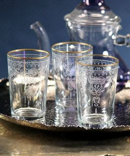 Majorelle Clear Moroccan Tea Glass comes in a set of 6