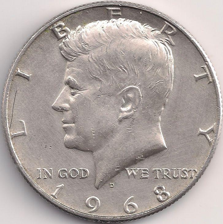 Motivseite: Münze-Amerika-Vereinigte Staaten-Dollar-0.50-1965-1970