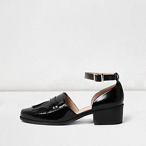 Chaussures Pointues En Noir Avec L'île De La Rivière Sangles UOmPpLxEgM