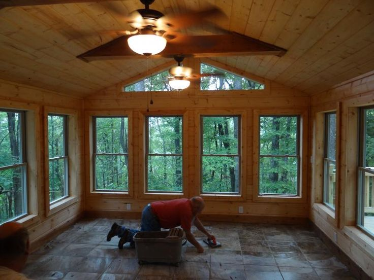 1000 ideas about rustic sunroom on pinterest wood tiles for Log cabin sunroom additions