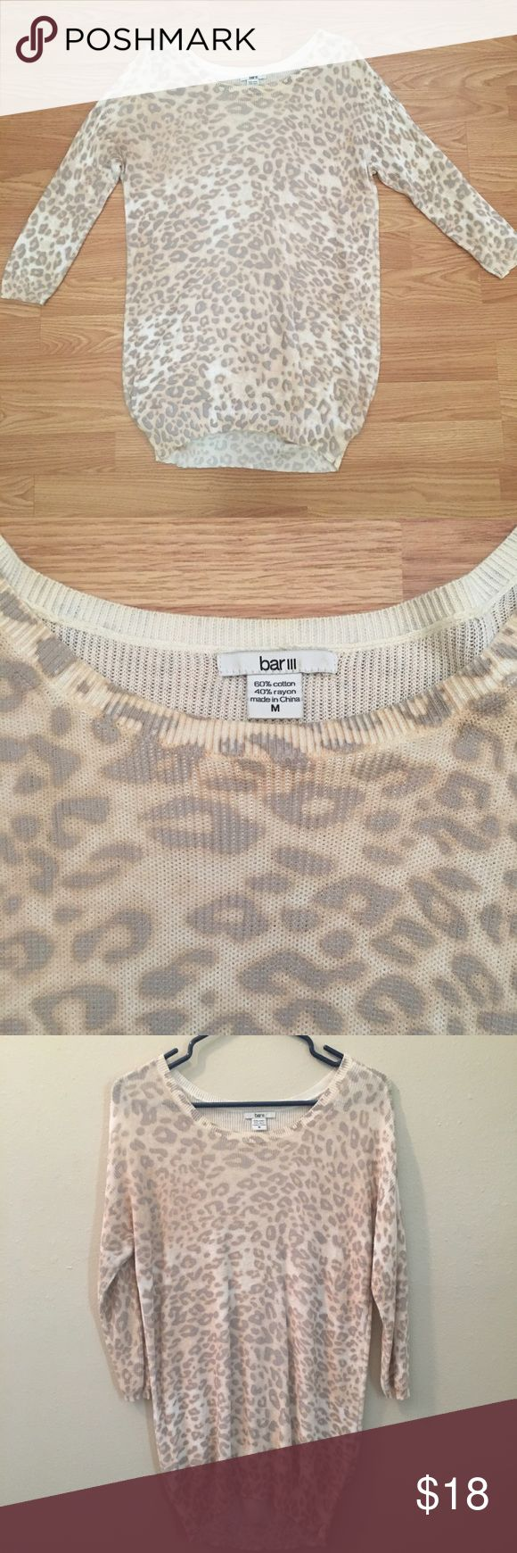 Snow leopard printed sweater by Bar III. Light weight snow leopard sweater by Bar III. Bar III Sweaters