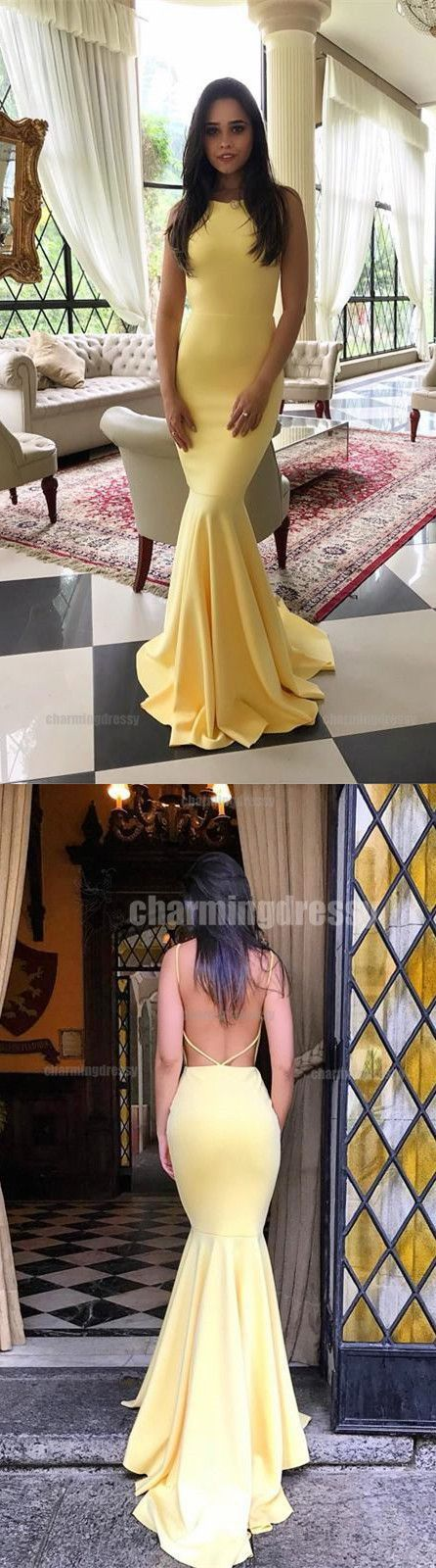 Yellow Mermaid Fashion Sexy Elegant Custom Cheap Simple Soft Party Prom Dresses, PD0471