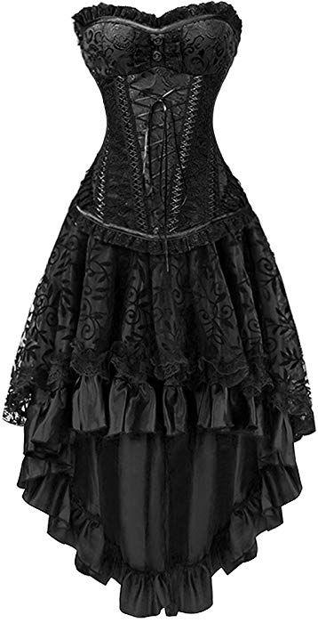 fec3247250 Killreal Women's Sexy Masquerade Steampunk Gothic Burlesque Costume Corset  with Hi Low Skirt Set Black Small