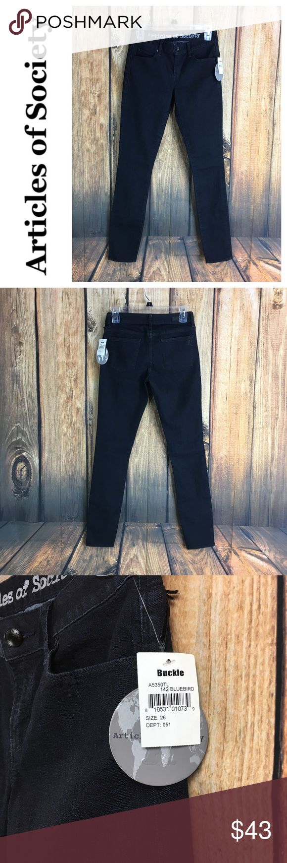 """💙NWT Articles of Society Bluebird skinny jean 💙NWT Articles of Society Bluebird skinny jean size 26  Measurements are approximate  Inseam 31"""" Rise 7 1/2"""" Leg width opening is 5"""" wide  Waist laying flat 12 1/2"""" across   From Buckle comes this Article of Society Bluebird skinny denim jean in size 26 Articles Of Society Jeans Skinny"""