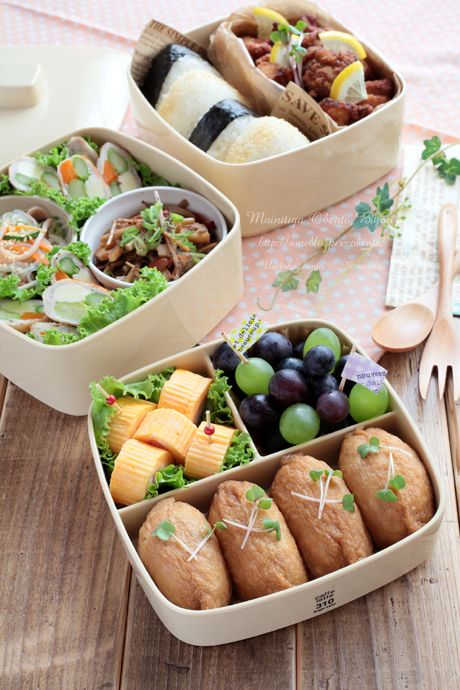 Japanese-style Picnic Bento Lunch Box with Inarizushi Tofu Bag Sushi|弁当