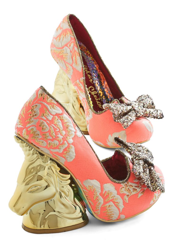 Irregular Choice Moments of Magic Heel in Coral | Mod Retro Vintage Heels = crazy unicorn heels