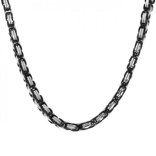 Bling Jewelry 8mm Black Stainless Mens Necklace Mechanic Style Link Chain 20in