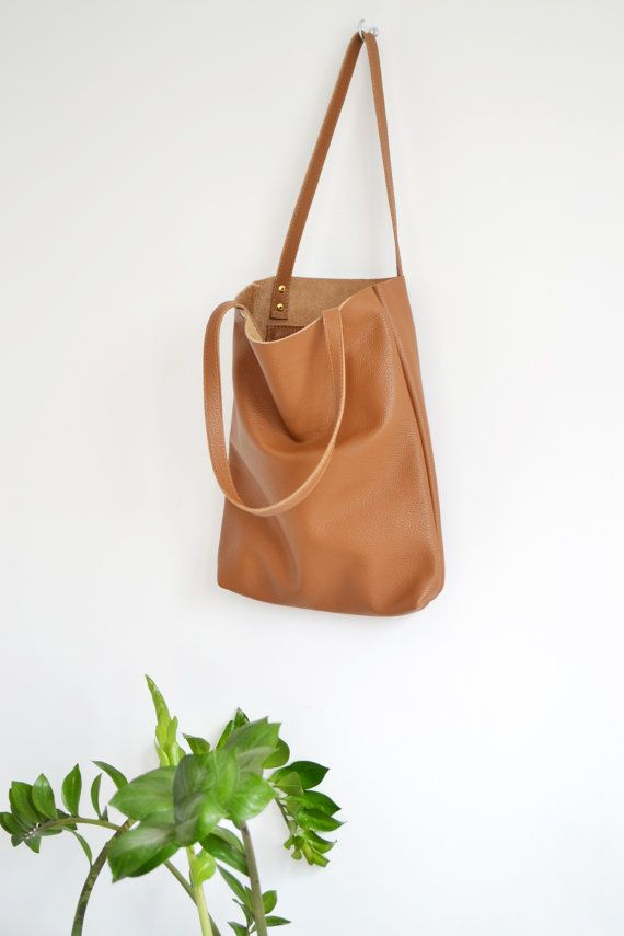 Everyday BROWN LEATHER Tote Bag Pebbled Leather Laptop by KadoBag