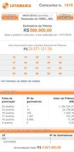 Resultado da Lotomania 1416 – 08/01/2014