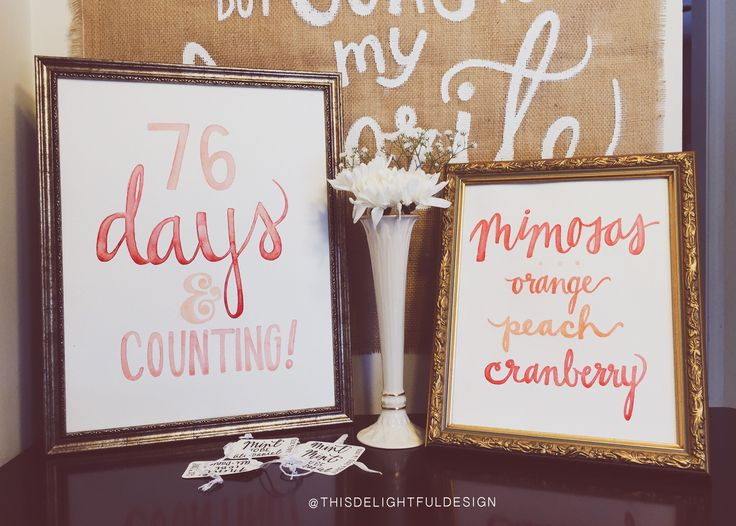 Days and Counting | Watercolor | Wedding Signage | Engagement | Bridal Shower Decorations | Modern Calligraphy ||   This Delightful Design by Katie Clark  http://www.katieclarkk.com/