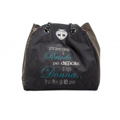 "LE #PANDORINE - Borsa NEW CLASSIC TWIST ""Periodo..."" in ecopelle - Grigio - Elsa-boutique.it <3"