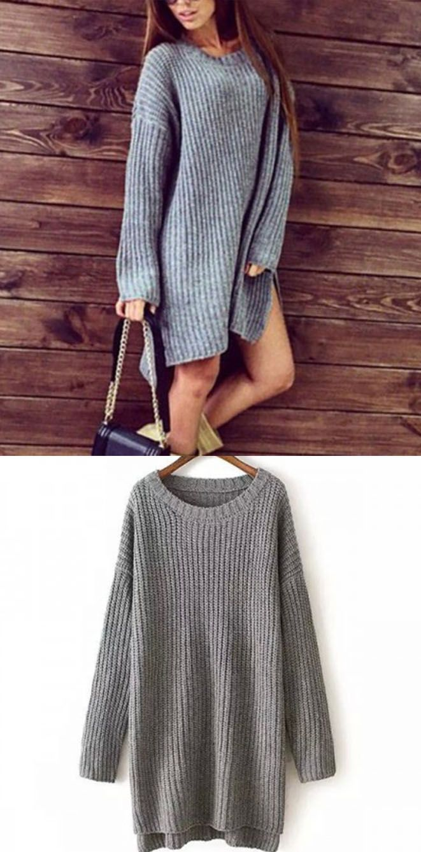 b507a10259f2 Drop Shoulder Honeycomb Knit Gray Sweater Dress