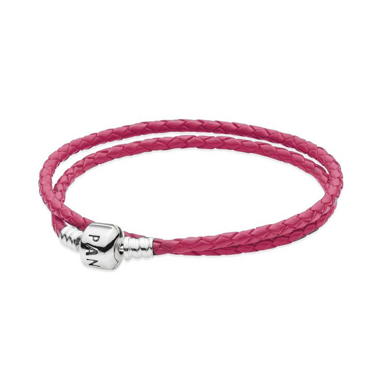 Double Blue Leather Bracelet | PANDORA, Distinctive double woven dark blue leather bracelet by PANDORA with sterling silver details, capable of holding a maximum of nine charms, CA$39.98 44% OFF, Buy Now: http://www.pandoracanada2013.com/pandora-pink-bracelet.html