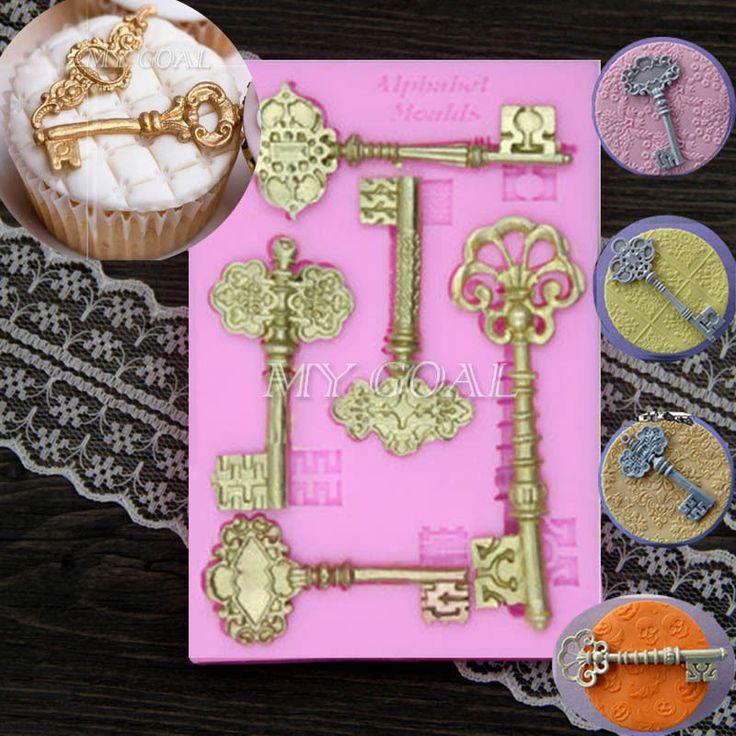 3D Vintage Key Frame Silicone Mould Cake Fondant Sugarcraft Baking Decor Mold | eBay