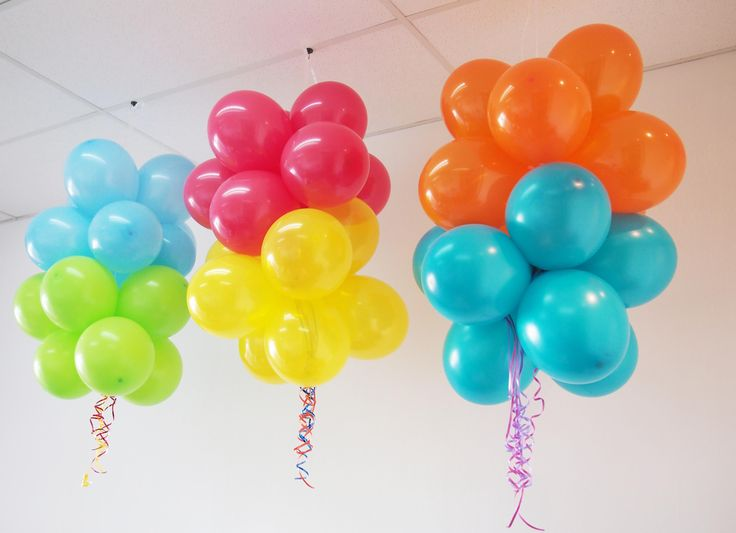 Balloon cluster hanging decorations includes a cluster of for Air filled balloon decoration ideas