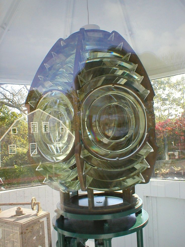 Fresnel lens from the Turret. The original Chatham Twin lights were equipped with Fresnel lenses so they would project the beam farther out to sea.  To the best of our knowledge, it is the only lantern room with its original Fresnel lens that still operates. #atwoodhouse, #chathamhistoricalsociety, #fresnel, #lens, #chatham, #capecod, #lighthouse