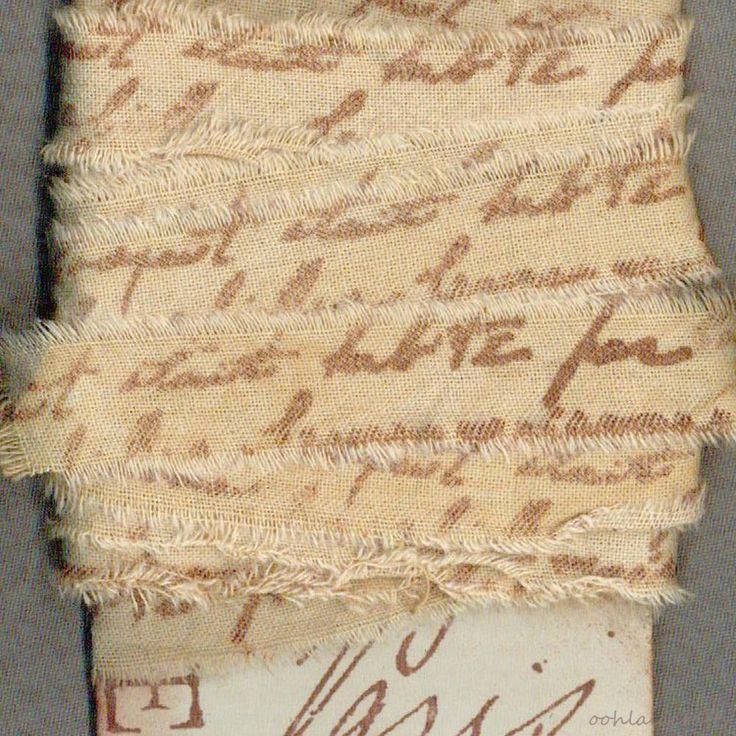 6 YARD FRENCH SCRIPT hand torn muslin fabric ribbon Paris apt craft   1329