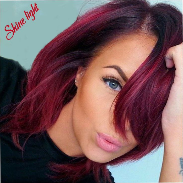 99j Red Ombre Bob Lace Front Brazilian Wigs With Baby Hair