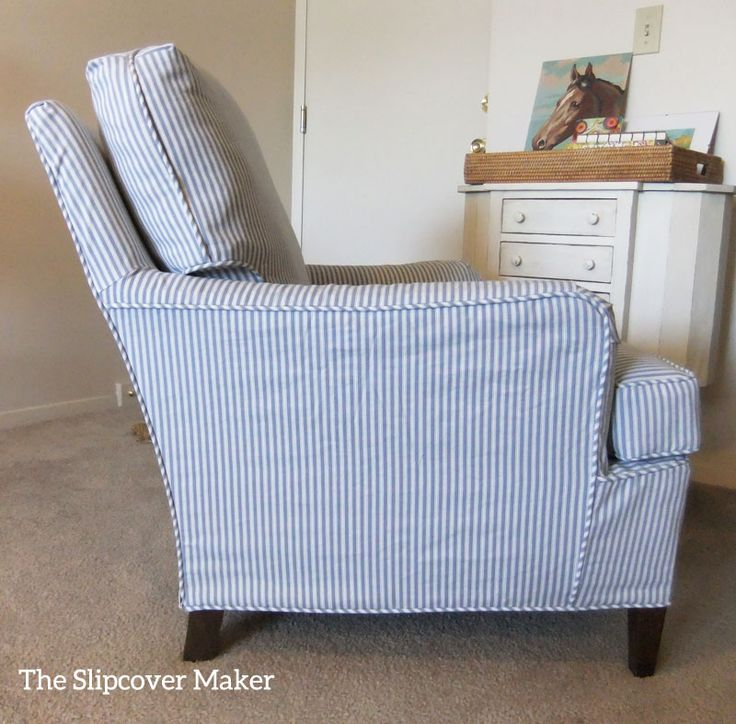 a custom slipcover in printed ticking cotton gave this old drexel chair an instant style boost