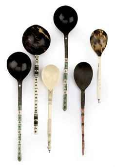 A set of six Ottoman tortoise-shell, coral, wood and stained-ivory sherbet spoons