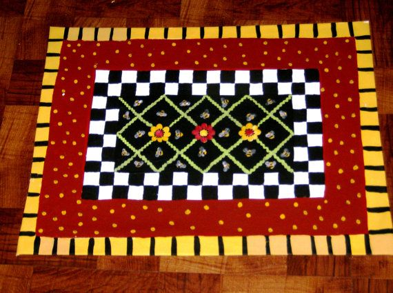 FLOORCLOTH  hand painted rug  Cottage Decor  by countryfloorcloths