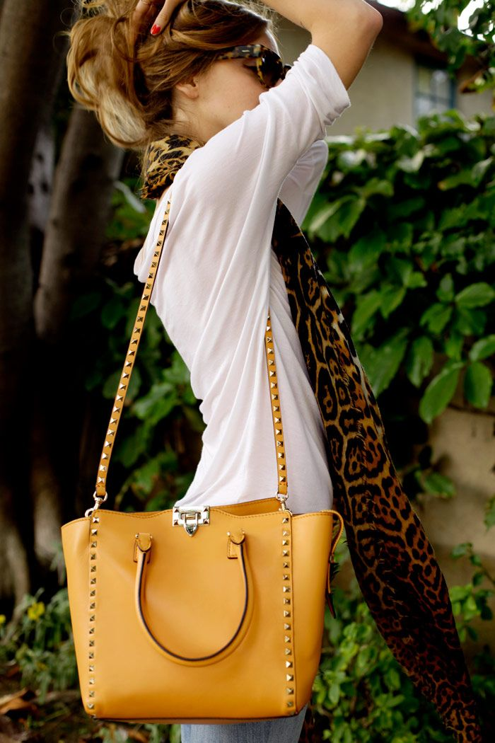 Mustard Valentino and leopard scarf