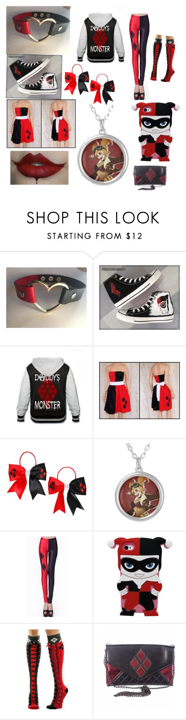 """I hate knowing I look like """"all those Harley Quinn cringy wanna bes"""" but idc I love Harley Quinn  """"Harley Quinn Outfit"""" by brennin-lacee ❤ liked on Polyvore featuring Converse"""