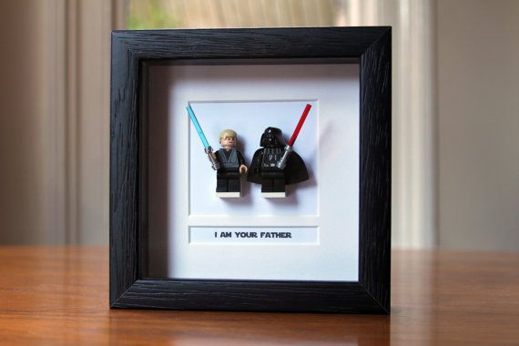 Star Wars Framed Mini Figures Darth & Luke 'I am your Father' made from Lego