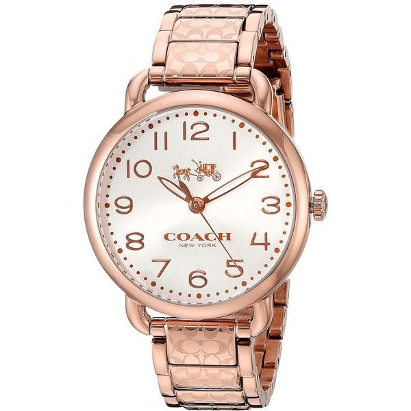 COACH Delancey 36mm Etched Bracelet Watch ($295) ❤ liked on Polyvore featuring jewelry, watches, etched jewelry, dial watches, military style watches, coach jewelry and water resistant watches