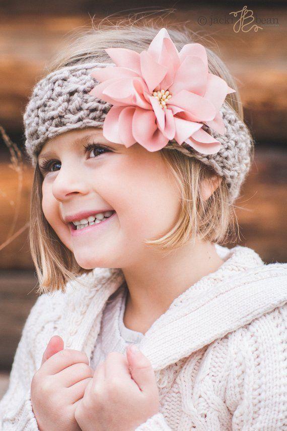 Pink Dahlia-Kids Knitted Headband-Knit Headband-Kids Ear Warmer-Toddler  Headband-Hair Accessor 87b5c05c589