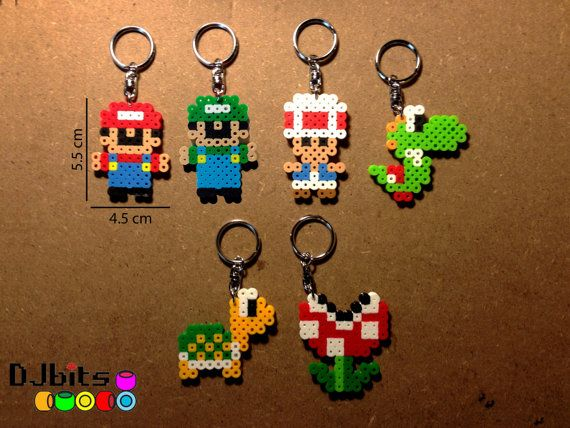 Mario Magnets, Charms and Keychains from Perler Beads on Etsy, $2.89
