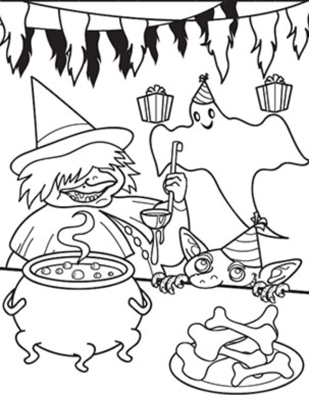 Bonito Lindas Páginas De Halloween Para Colorear Ornamento - Dibujos ...