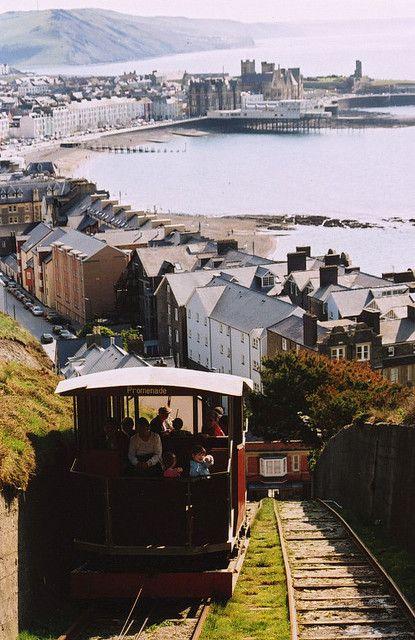 Cliff railway, Aberystwyth, Wales. Sea-side resort in north Wales. https://www.pinterest.com/halinalis/breathtaking-view/