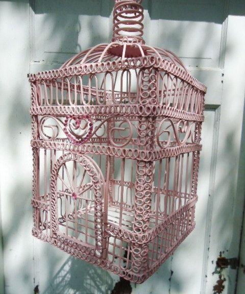 Pretty pink bird cage