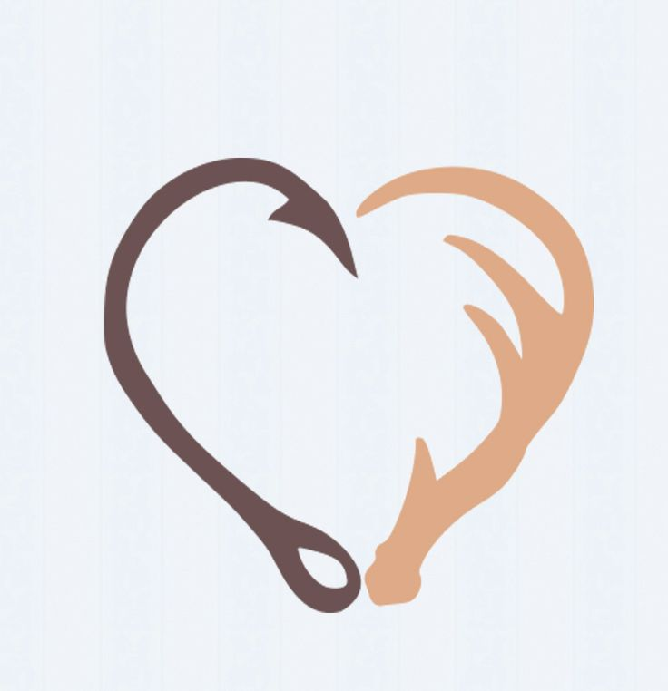 Interlocking Hook and Antler svg Heart Cutting File Set in Svg, eps, dxf and   PNG Format for Cricut and Silhouette, Hunting Fishing by JenCraftDesigns on Etsy