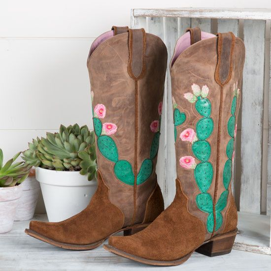 Hard To Handle Cactus Boot by Lane- The Hard to Handle Cactus boot by Lane Boots will stand out above all others with the super cute cactus design