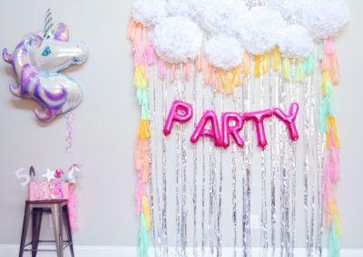 Unicorn birthday party photo booth