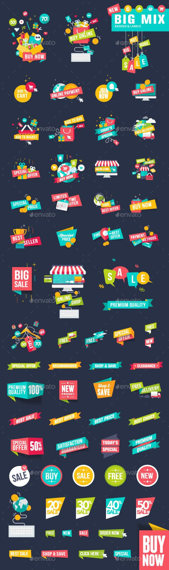Flat Design Badges and Labels for Shopping - Commercial / Shopping Conceptual
