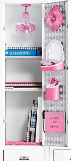 Locker Organization - don't get hung up on the bling. Here's some advice: all materials are stacked vertically for ease of access. Bottom shelf a.m. classes, next shelf p.m. classes. The homework goes on the top shelf or into the backpack asap after class. Don't ever leave materials you need behind again.